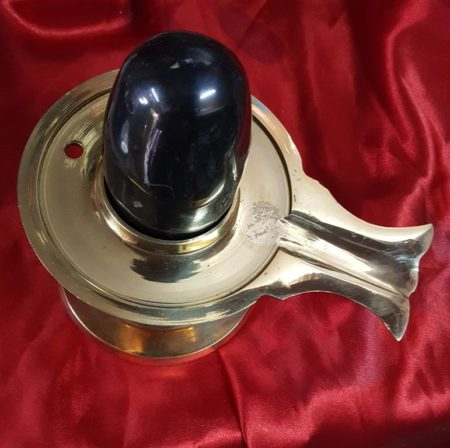 BLACK MARBLE SHIVLING WITH COPPER BAN